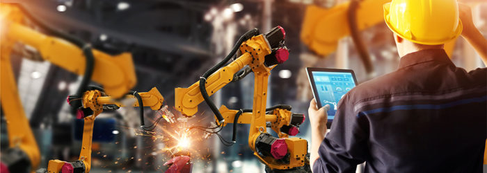 Engineer check and control welding robotics automatic arms machi