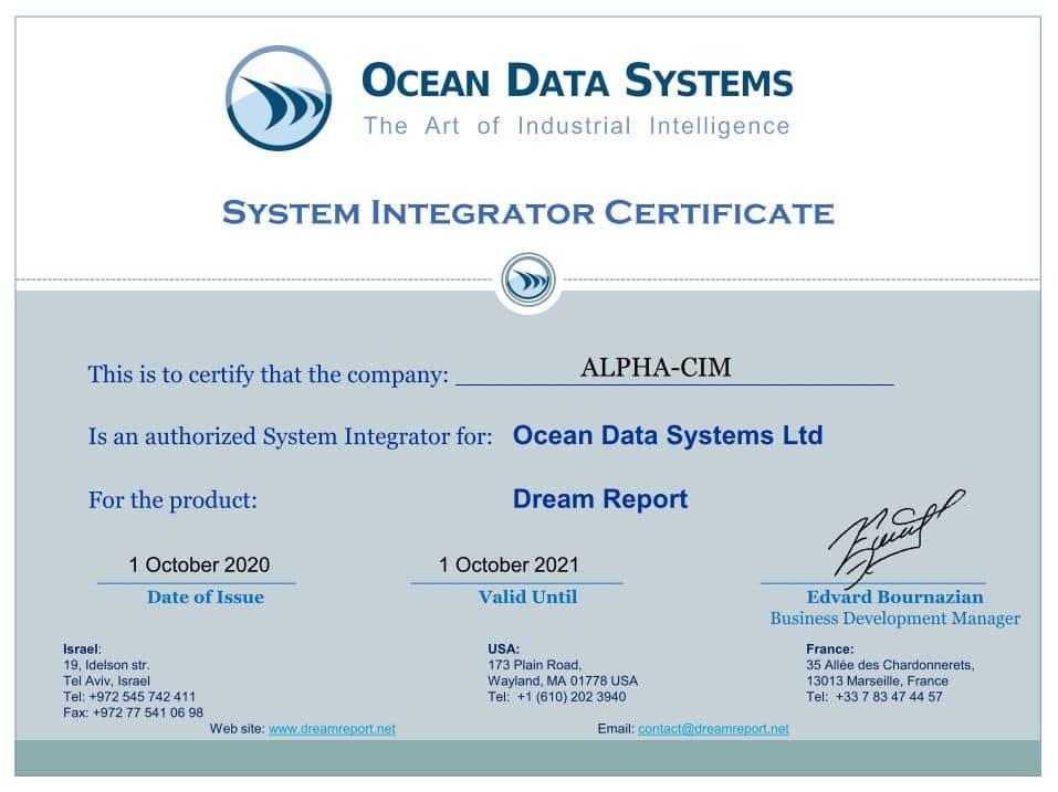 Intégrateur Certifié Dream Report